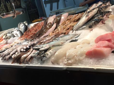 Various fish on sale at Triana market